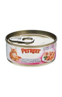 Petreet Natura, кусочки розового тунца c креветками, консервы для кошек / Petreet (Таиланд)