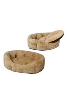 Лежак овальный, пухлый, с подушкой, бежевый / Yami-Yami (Россия)