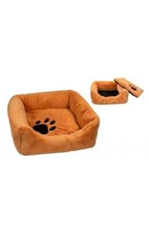 Лежак квадратный, пухлый, с подушкой, рыжий / Yami-Yami (Россия)