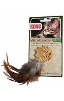 Игрушка для кошек Соломенный мячик с перьями / KONG (США)