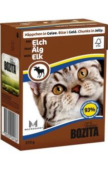 Bozita Chunks in Jelly with Elk, влажный корм для кошек с Лосятиной / BOZITA (Швеция)